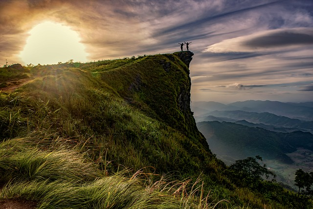 Hiking on a mountain cliff